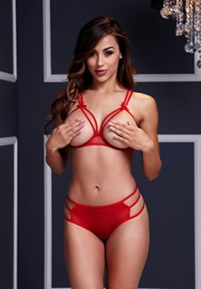 Red Strappy Open Cup Bra Set With Panty