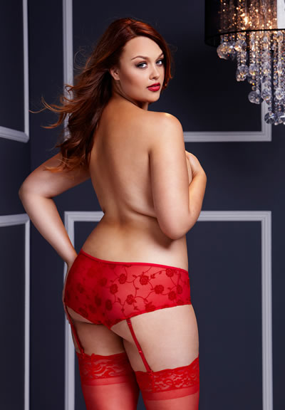 Red Rose Open Crotch Boyshorts Queensize
